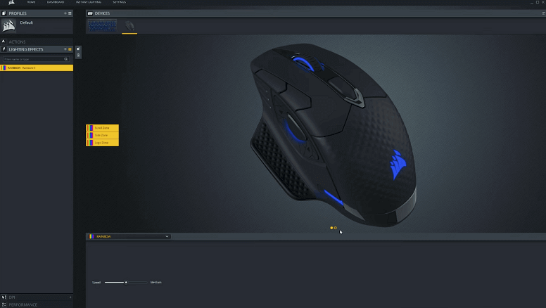 Corsair Dark Core RGB SE software cue