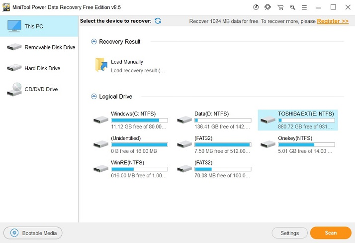 recuperare dati hd esterno con mini tool power data recovery