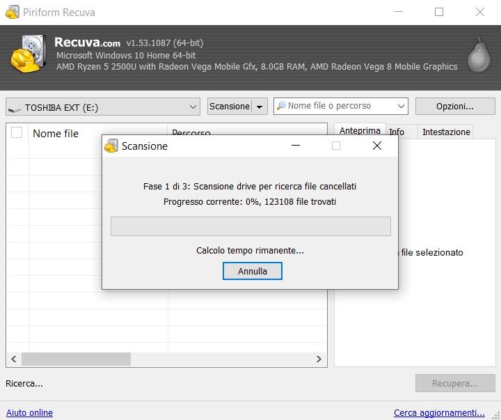 recuperare dati da hard disk esterno con recuva